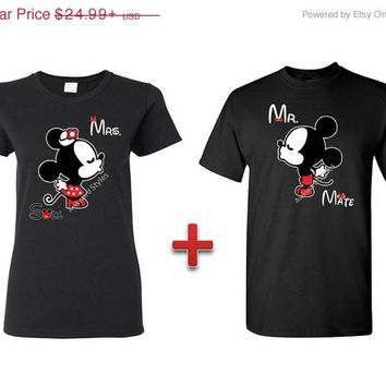 Couple shirts Mr. and Mrs + Soul Mate Kissing Mickey and Minnie Disney Couple T shirt Inspired - S-5XL Gift Love Valentine Mr Mrs Right.
