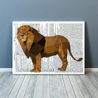 Animal print Lion poster Geometric art Wall decor TO364