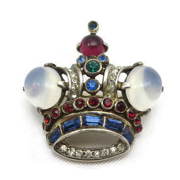 Trifari Crown Brooch - Jelly Belly, Sterling Silver, Moonstone Glass, Rhinestones, 1940s, Alfred Philippe