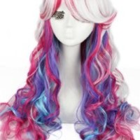 L-email Long Wavy Gothic Lolita Cosplay Wig Rainbow Color C51