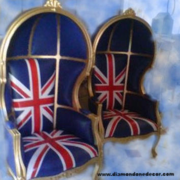 """Union Jack"" Fabulous Baroque French Reproduction Louis XV Rococo Victorian Umbrella Porter Chair"