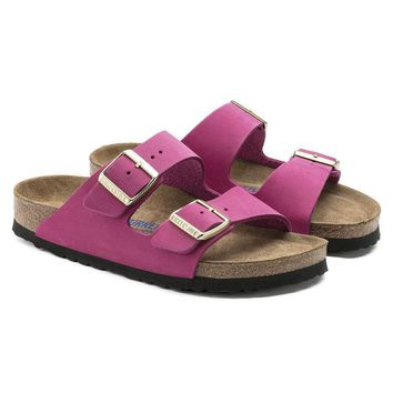Birkenstock Beach Slippers Arizona Soft Footbed Nubuck Leather Pink Sandals