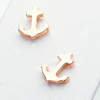 Anchor Stud Rose Gold Stud Earrings