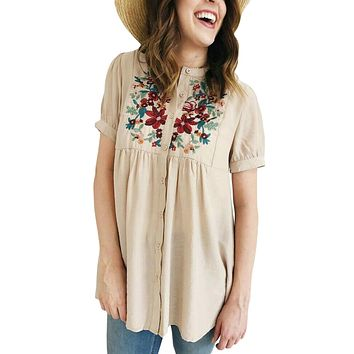 Z| Chicloth Apricot Floral Embroidered Button up Top