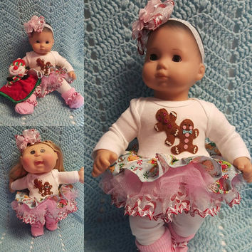 """15 inch Baby Doll Clothes handmade will fit Bitty Baby® fits Cabbage Patch® """"Gingerbread Kids"""" doll outfit leggings headband Christmas  O1"""