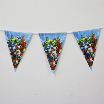 Cartoon Theme Hulk Baby Shower Decoration Flag Avengers Kids Favors Happy Birthday Party Banners Paper Pennats Supplies 1set\lot