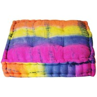 Tie Dye Yoga Meditation Square Pouf Floor Cushion