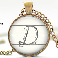 D Initial Necklace, Back to School, Teacher Gift, The Letter D Art Pendant, Cursive School Handwriting Charm, Alphabet Necklace