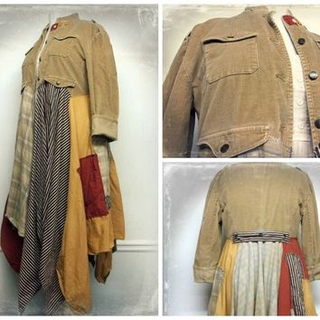 Long Boho Duster,  Long Bohemian Jacket, Long Gypsy Coat, Steampunk Coat, Boho Clothing, Patchwork Coat, Upcycled Clothing