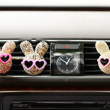 Car Bling Rabbit vent clip, car air freshener, Car Interior Decal Accessory, Car Decorations gifts