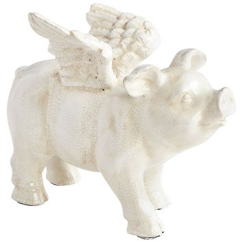 Oink Angel Standing White Crackle Ceramic Winged Pig Sculpture by Cyan Design