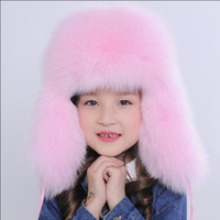 Russia 2016 New kids Real Fox Fur Hat Boys Girls Warm Winter Fur Hat Baby Solid Colour Caps Warm Ears Children Kids Hat MHH06