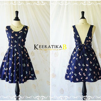 A Party V Charming Dress Navy With Petite Dot And Bows Print Backless Sundress Bridesmaid Dresses Navy Party Dress Cocktail Prom Dress XS-XL