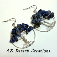 Blue Lapis Lazuli Tree of Life Earrings Silver Plated World Tree