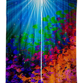 UNDER THE SEA  Fine Art Window Curtains Multiple Sizes Ocean Abstract Teal Blue Rainbow Decor Bedroom Kitchen Lined Unlined Woven Fabric