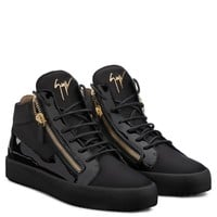 Giuseppe Zanotti Gz Kriss Black Calfskin Sneaker With Patent Leather Insert - Best Deal Online