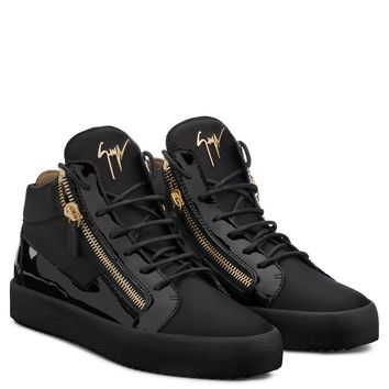 Giuseppe Zanotti Gz Kriss Black Calfskin Sneaker With Patent Leather Insert