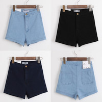 Summer Stretch High Waist Denim Slim 3-color Shorts [8173449607]