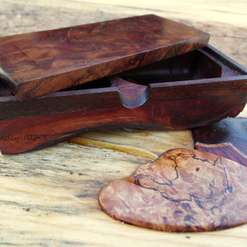 Beautiful Wedding Party Gift Walnut and Redwood Burl Wooden Box