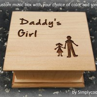 music box custom, wooden music box, Daddys girl music box, father of bride gift, wedding gift bride, cool gifts, butterfly kisses music box