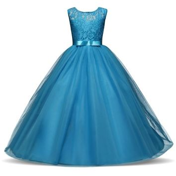 Cute Elegant Charming Kids Girls Pageant Long Dress Baby Girl Party Wedding Formal Bridesmaid Princess Lace Birthday Dresses 4-1