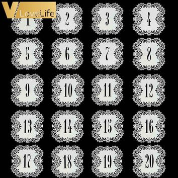 20pcs Hollow Lace Table Number