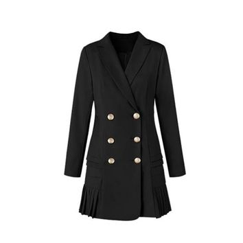 Pleated Double Breasted Blazer For Ladies