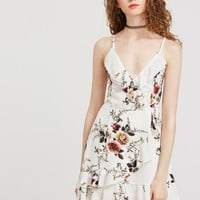 White Floral Ruffle Trim Slip Dress | MakeMeChic.COM