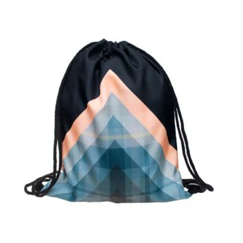 Drawstring Backpack in geometric pattern in blue orange color for Cinch Backpack
