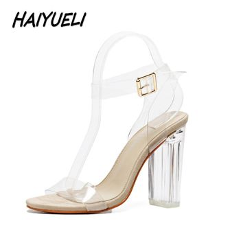 HAIYUELI Women gladiator sandals pumps thick high heels shoes woman Crystal Clear Tran