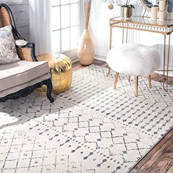 """Traditional Vintage Moroccan trellis Grey Area Rugs, 6 Feet 7 Inches by 9 Feet (6' 7"""" x 9' Oval)"""