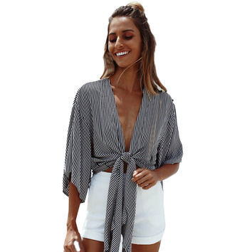 Summer Women Striped Beach T-shirt Cape Ladies Deep V neck Crop Top Shirt Loose Casual Batwing Sleeve Short Tops