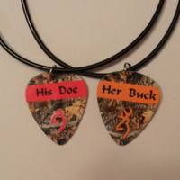 Her Buck His Doe Guitar pick matching necklaces for couples love girl guy deer orange pink