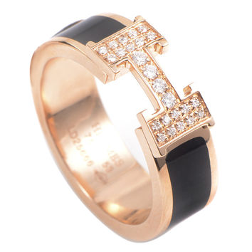 "Hermes Clic Clac Rose Gold Diamond ""H"" Ring"