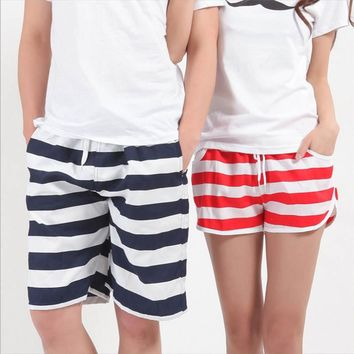 2017 New Style Beach Shorts Men and Women Stripe Flower Star Hooks Print Board Shorts summer Cool Couple Shorts