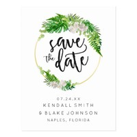 Tropical Palm Leaves & Greenery Wreath Postcard