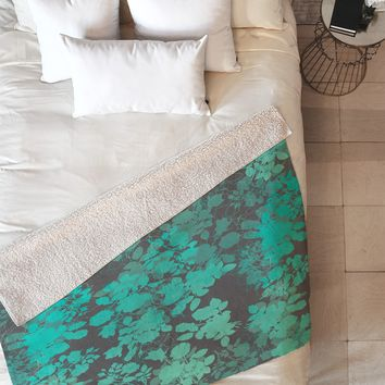 Gabi Audrey Teal Fleece Throw Blanket
