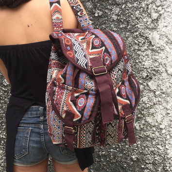 Southwestern boho backpack Ethnic fabric Hippie  Festival Travel Luggage bag Bohemian Hipster Folk bucket bag Native Men gift maroon brown