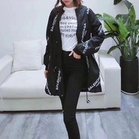 Balenciaga Fashion Embroidery Zip Long Sleeve Cardigan Jacket Windbreaker Coat