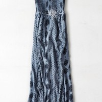 AEO Women's Printed Strapless Maxi Dress (Blue)