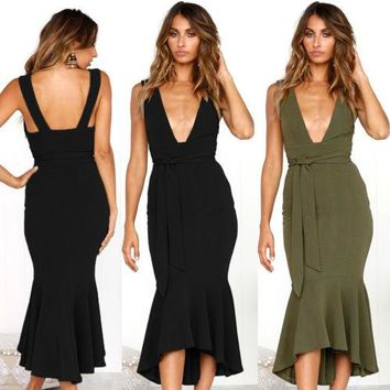Fashion Womens Deep V-Neck Backless Bandage Party Bodycon Dress Women Solid Sheath Ruched Dresses Summer Clothing