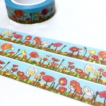 wild flower poppies washi tape 10M x 1.5 CM countryside flowers wildflower blooming summer flowers masking tape red flower white flower deco
