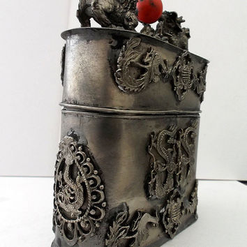 Asian FOO DOGS Tibetan Miao Silver Box Chinese Kirin DRAGONS Phoenix