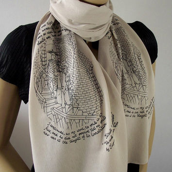 Edgar Allan Poe Scarf Quote Scarf Handprinted Scarf - Beige Cappuccino - with original illustration Raw Edge Scarf