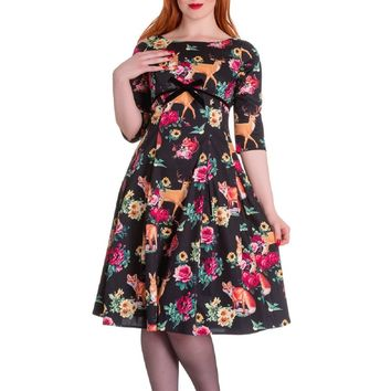 Hell Bunny Hermaline 50''s A-Line Dress Woodland Animal Deer Fox Bunnies Flowers