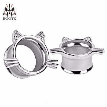 Silver Cat Ear Tunnel Plugs Gauges