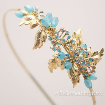 One of a kind headband with gold leaves and vintage blue touches