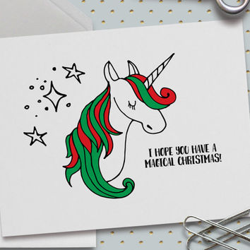 Christmas Card, Funny Christmas Card, Unicorn Christmas Card, Magical Christmas, Merry Christmas, Happy Holidays, Cute, 5.5 x 4.25 Inch (A2)