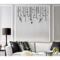 Vinyl Decal Wall Sticker White Black Treble Clef Music Notes Lines (n991)