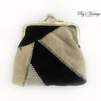 Vintage Tan / Black Suede Patchwork Change Purse / Leather Wallet Coin Purse